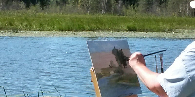 woman painting wetlands